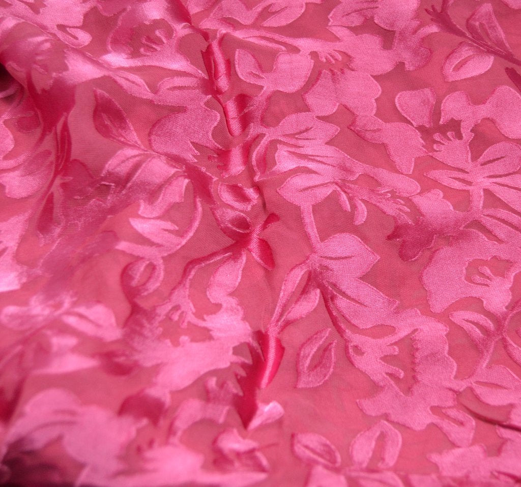 Cranberry Red Floral - Hand Dyed Burnout Devore Silk Satin