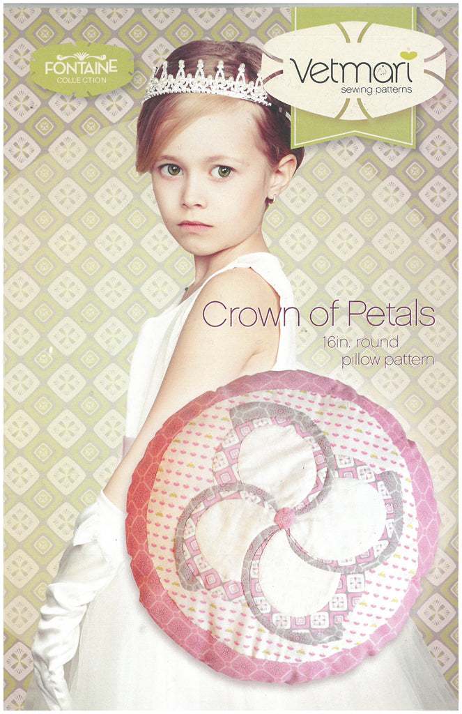 Crown of Petals 16in. Round Pillow Pattern - Vetmari Sewing Patterns