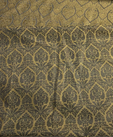 Black & Gold Damask Jacquard Fabric