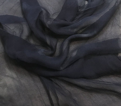 Dark Denim Blue - 3mm Hand Dyed Silk Gauze Chiffon