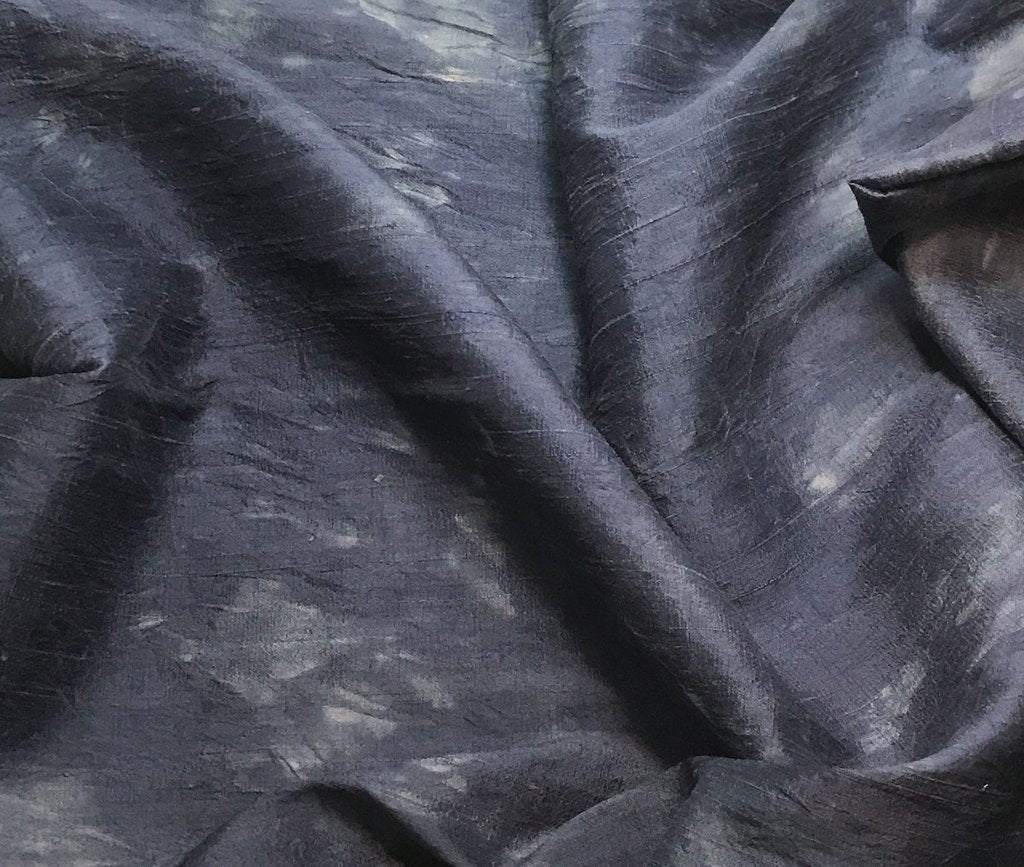 Dark Denim Blue - Hand Dyed Silk Dupioni