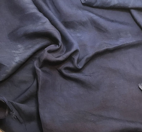 Dark Denim Blue - Hand Dyed Silk/Cotton Sateen