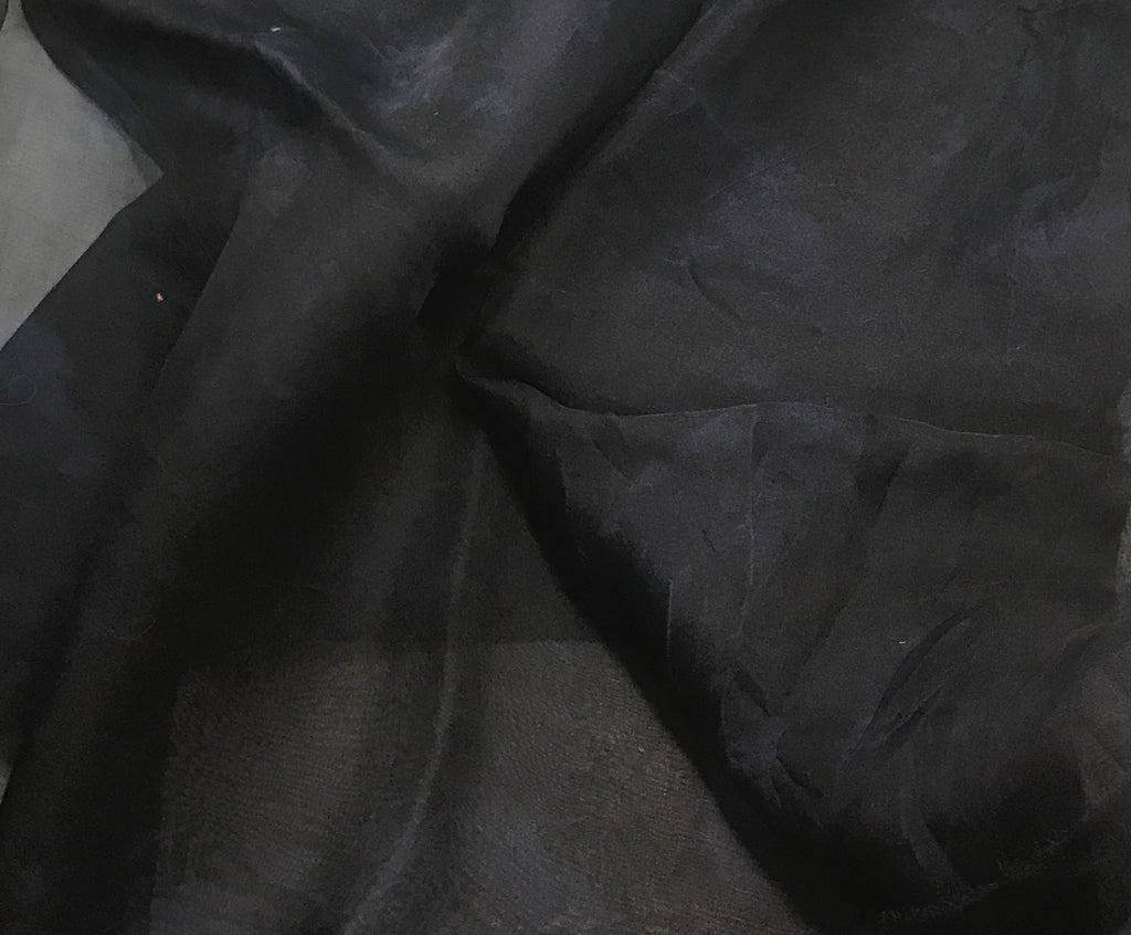 Dark Denim Blue - Hand Dyed Silk Organza (1/2 Yard)
