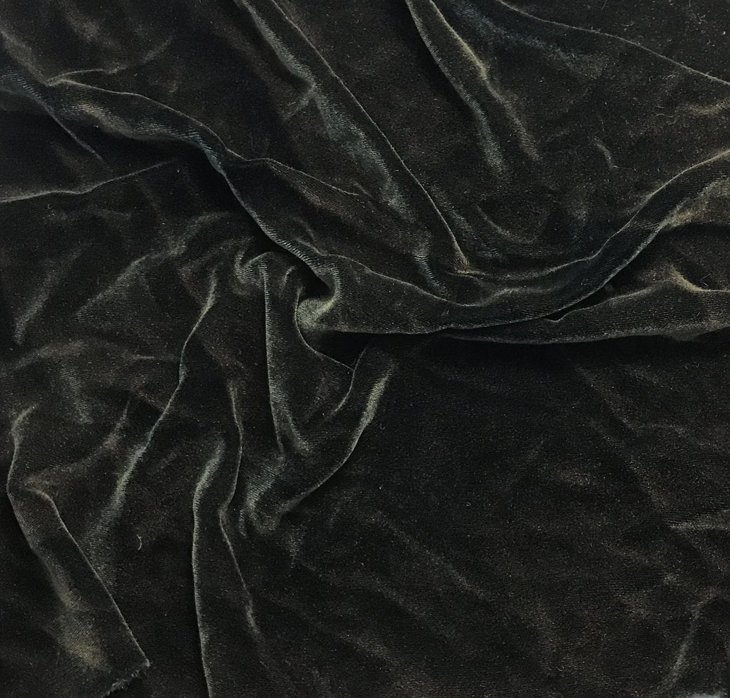 Antique Gold on Dark Green - Hand Painted Silk Velvet Fabric