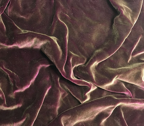 Antique Gold on Deep Fuchsia - Hand Painted Silk Velvet Fabric