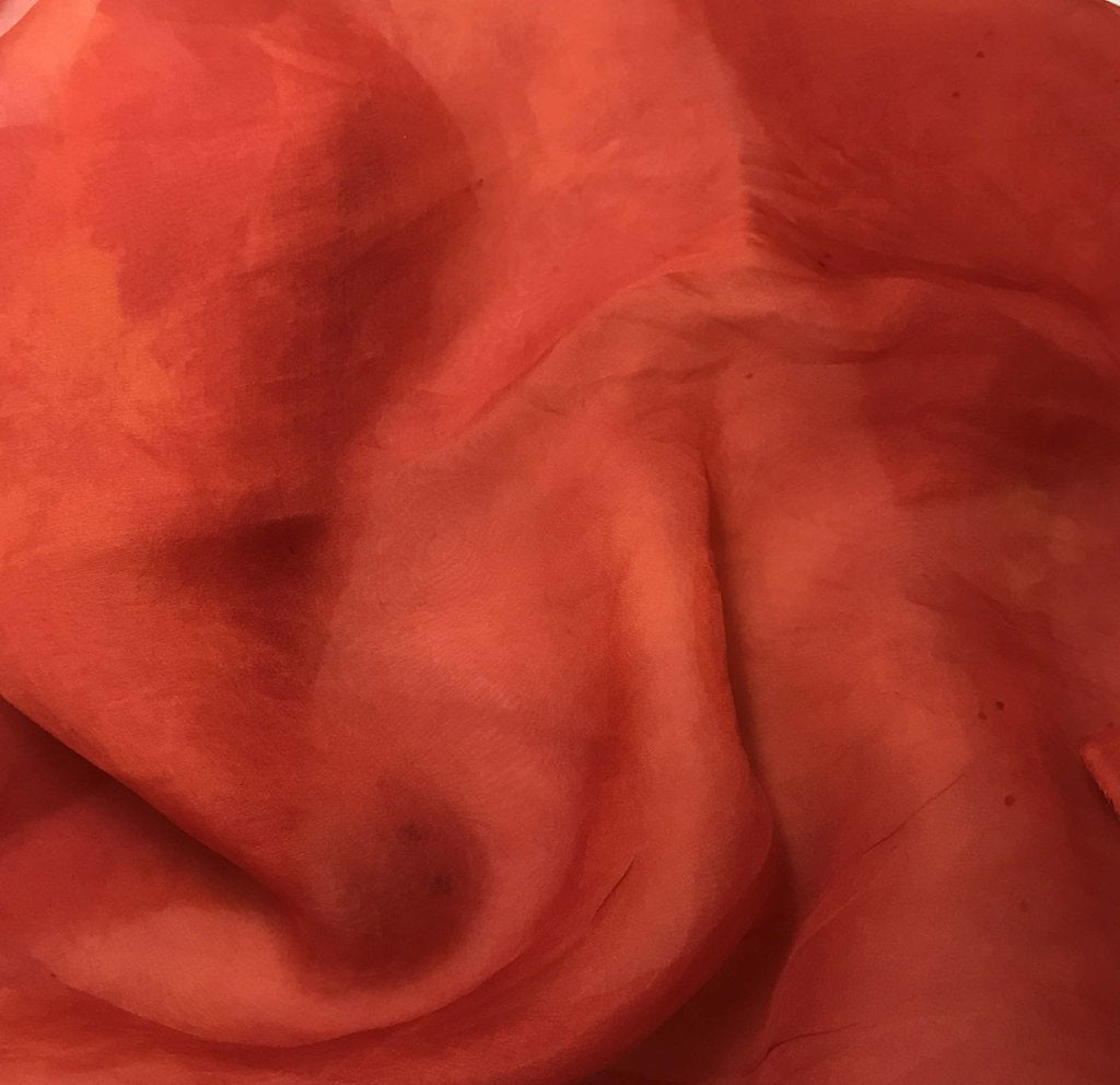 Deep Orange - Hand Dyed Silk Organza
