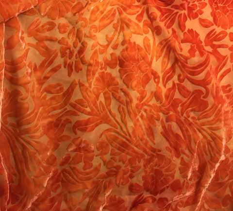Deep Orange Floral - Hand Dyed Burnout Silk Velvet