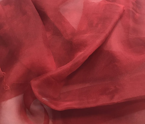 Deep Scarlet Red - Hand Dyed Silk Organza