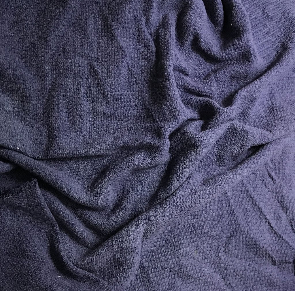 Denim Blue - Hand Dyed Squares Weave Silk Noil