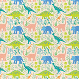 Dinosaur Stories - Land Dinos Cream - Paintbrush Studio Cotton Fabrics