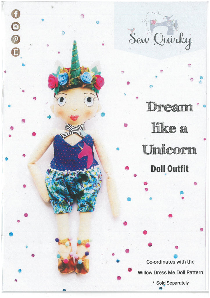 Dream Like a Unicorn Doll Outfit - Sew Quirky Patterns