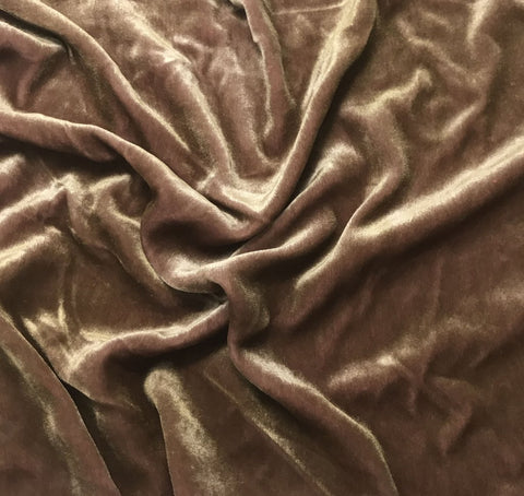 Antique Gold on Dusty Rose - Hand Painted Silk Velvet Fabric