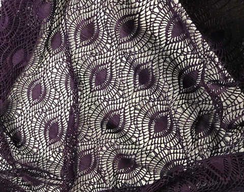 Eggplant Purple - Feather Eye Crochet Lace Fabric