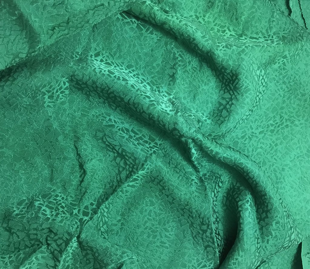 Emerald Green Pebbles - Hand Dyed Silk Jacquard