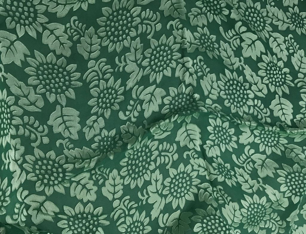 Emerald Green Sunflowers Floral - Hand Dyed Burnout Devore Silk Satin