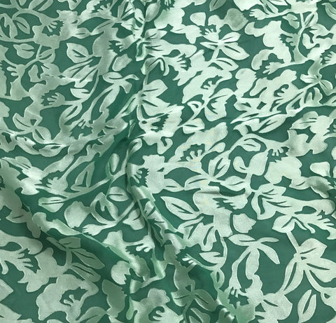 Emerald Green Floral - Hand Dyed Burnout Devore Silk Satin