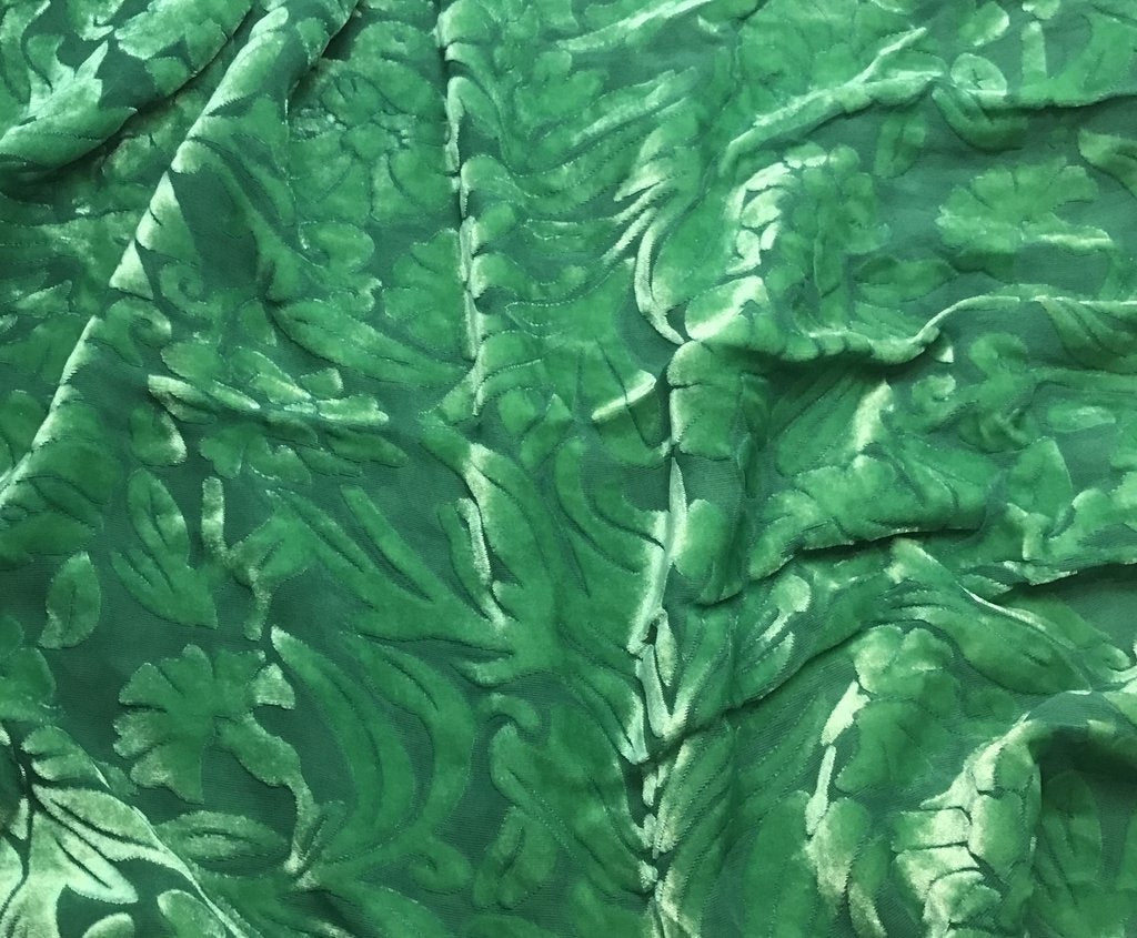 Emerald Green Floral - Hand Dyed Burnout Silk Velvet