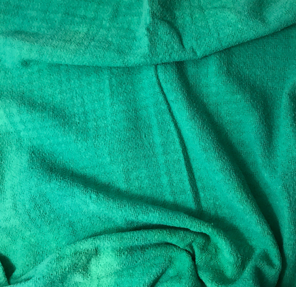 Emerald Green - Hand Dyed Checkered Weave Silk Noil 1/4 Yard x 45""