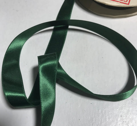 "Forest Green 5/8"" Vintage Grayblock Double Faced Satin Ribbon"