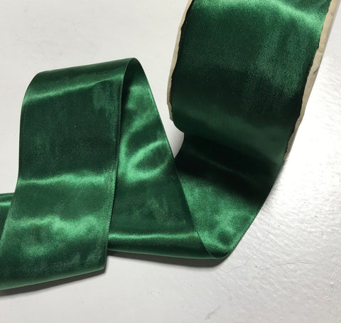 "Forest Green 2 1/4"" Vintage Grayblock Double Faced Satin Ribbon"