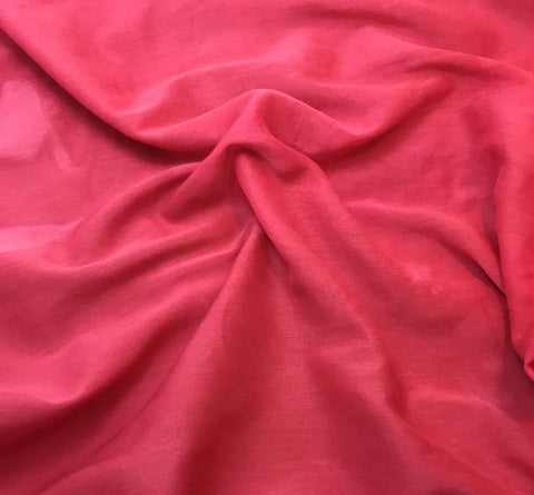 Fuchsia Pink - Hand Dyed Silk/Cotton Voile (1/3 Yard)