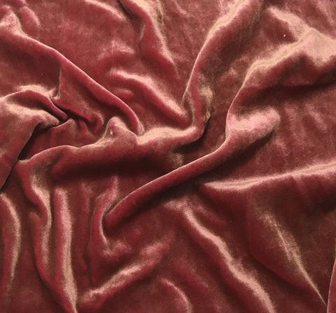 Antique Gold on Fuchsia - Hand Painted Silk Velvet Fabric