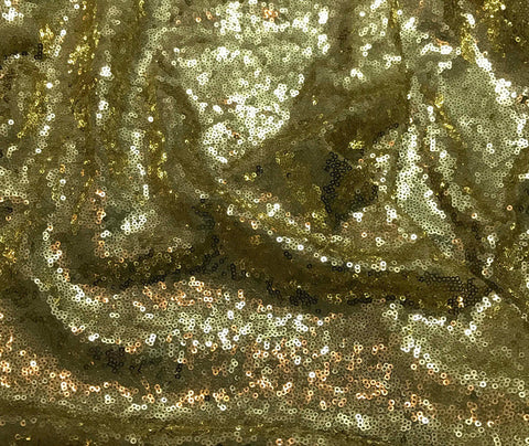 Gold - Sequin Spangle Sewn on Mesh Fabric