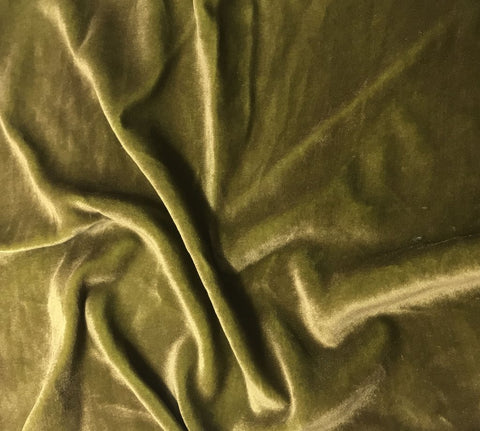 Antique Gold on Golden Olive - Hand Painted Silk Velvet Fabric