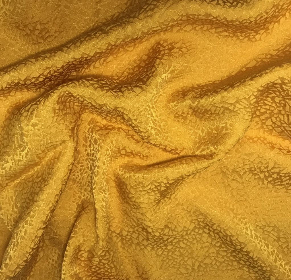 Golden Yellow Pebbles - Hand Dyed Silk Jacquard
