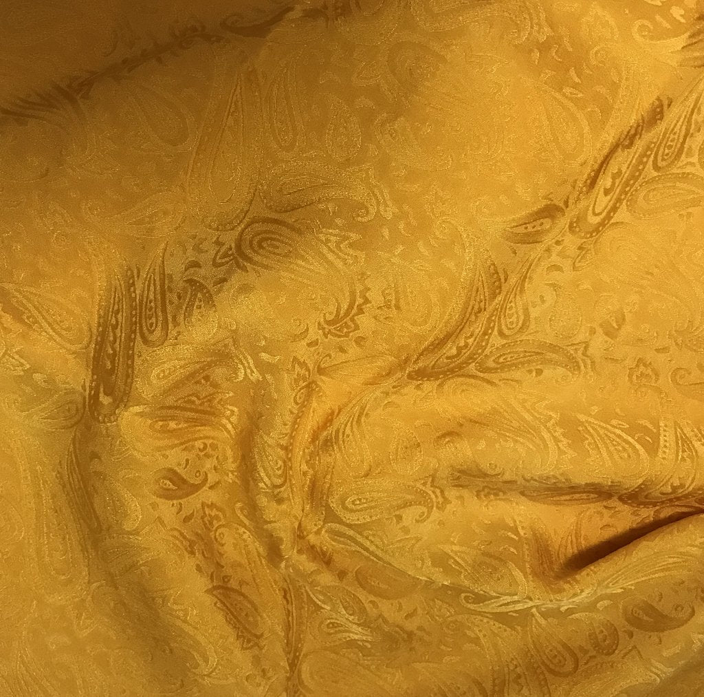 Golden Yellow Paisley - Hand Dyed Silk Jacquard