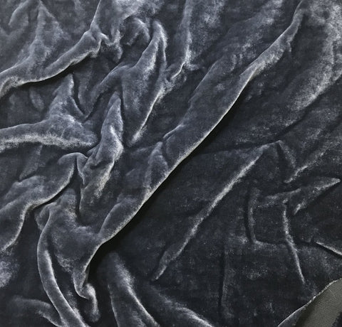 Gray Blue  - Hand Dyed Silk Velvet