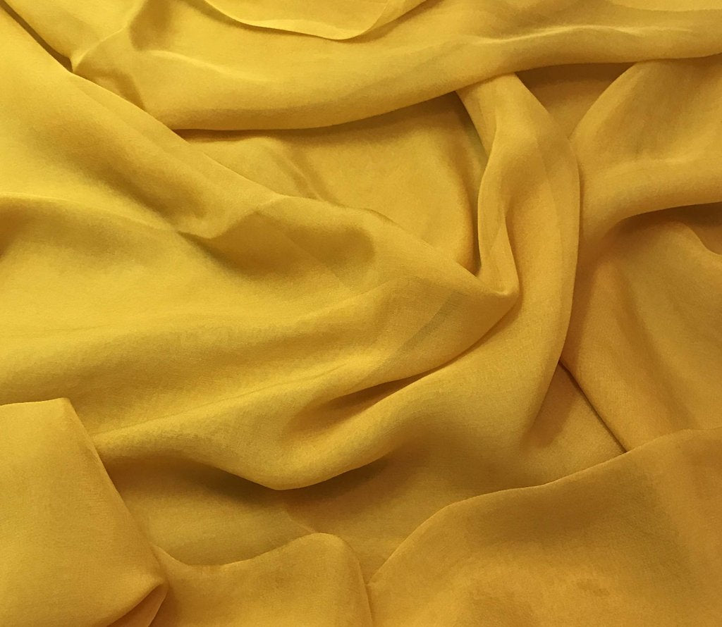 Honey Mustard Yellow - Hand Dyed Soft Silk Organza