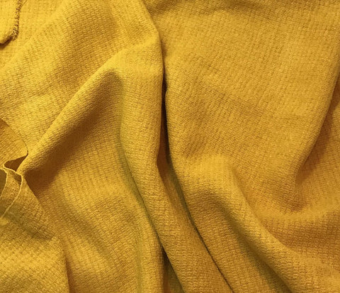 Honey Mustard Yellow - Hand Dyed Squares Weave Silk Noil