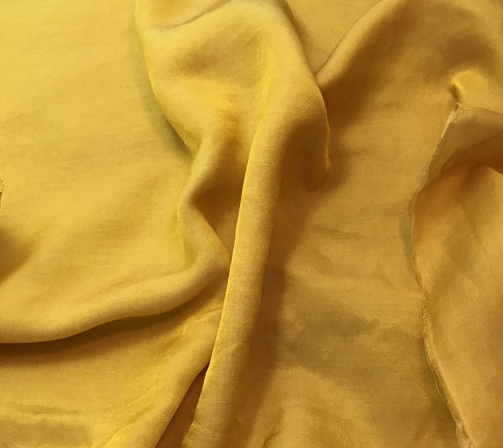 Honey Mustard Yellow - Hand Dyed Silk/Cotton Sateen