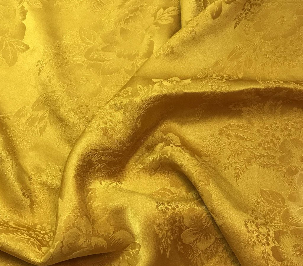Honey Mustard Yellow Floral - Hand Dyed Silk Jacquard
