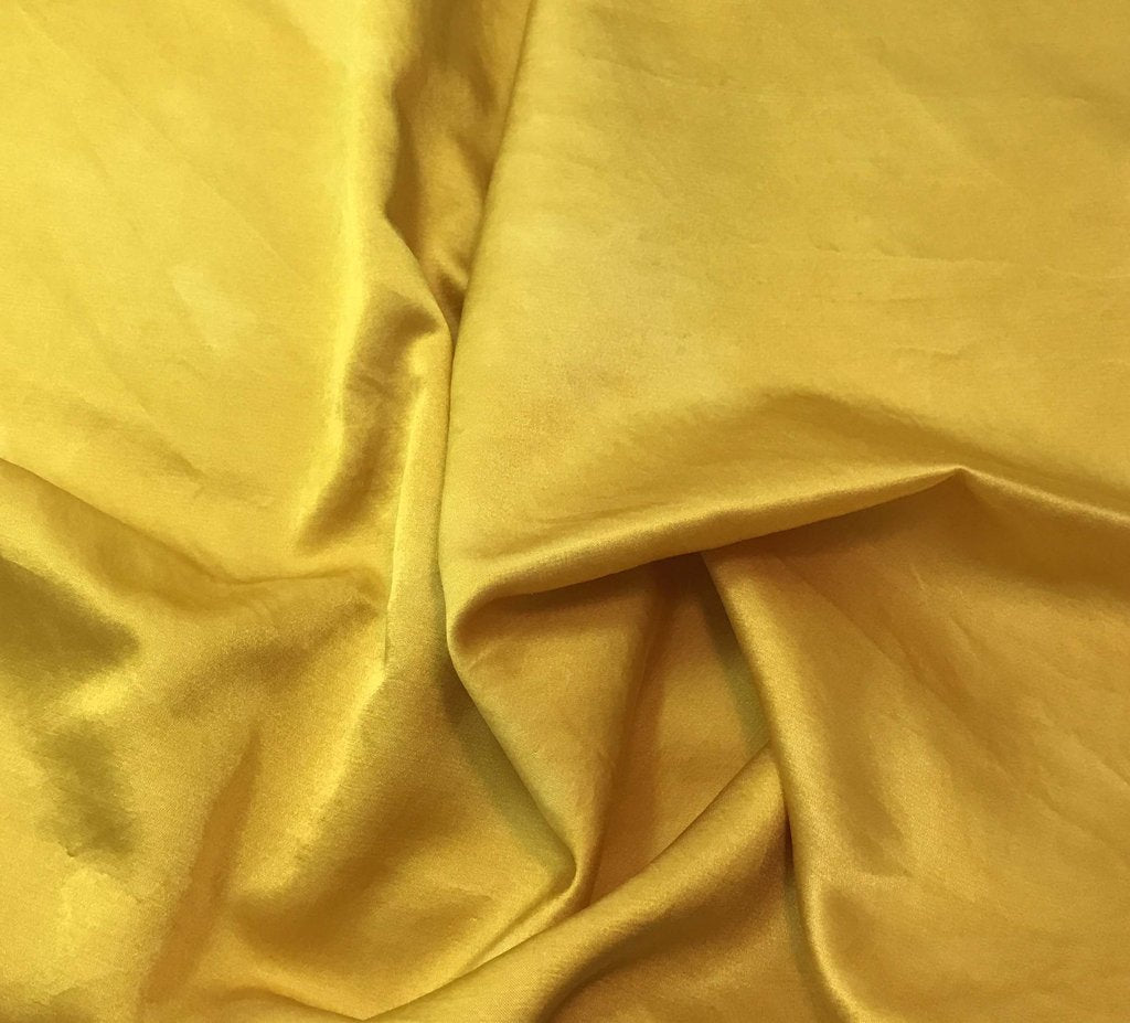 Honey Mustard Yellow - Hand Dyed Silk/Cotton Satin