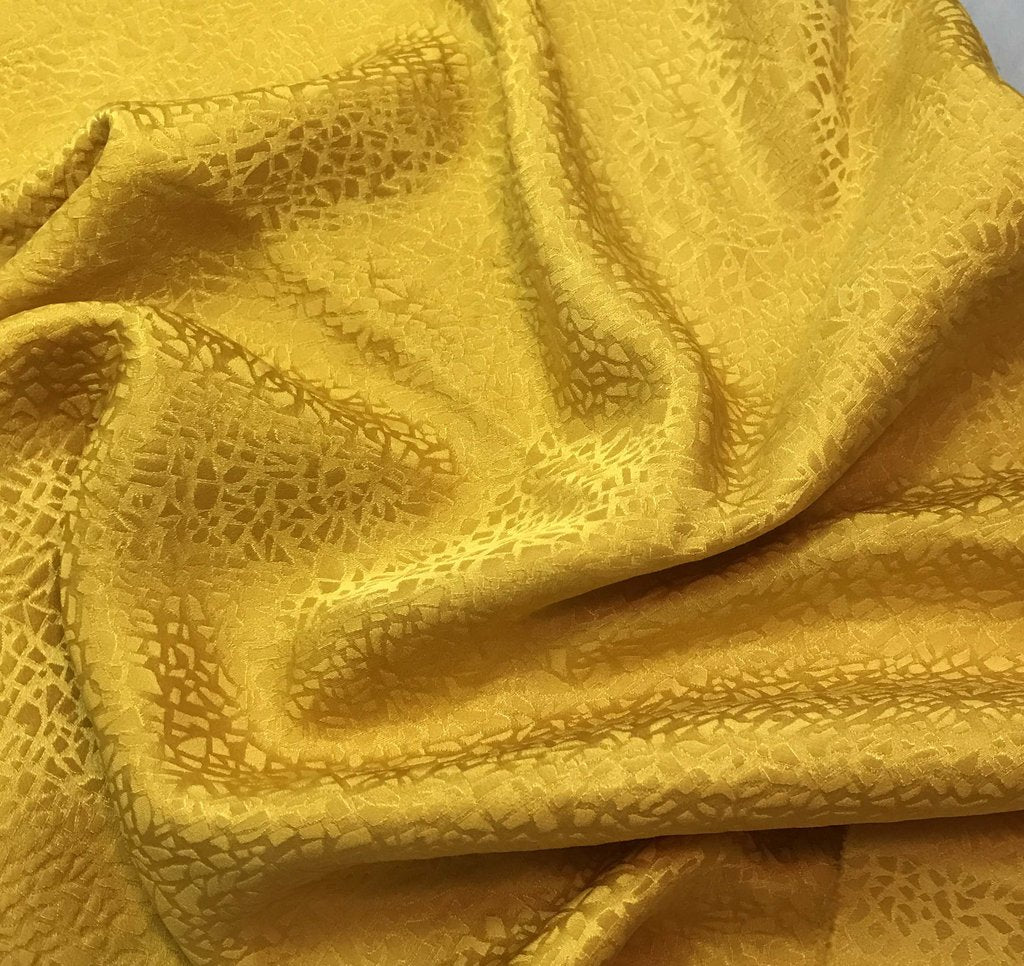 Honey Mustard Yellow Pebbles - Hand Dyed Silk Jacquard