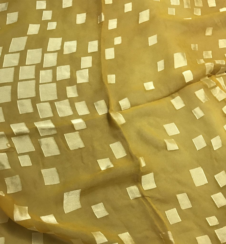 Honey Mustard Squares - Burnout Devore Silk Satin
