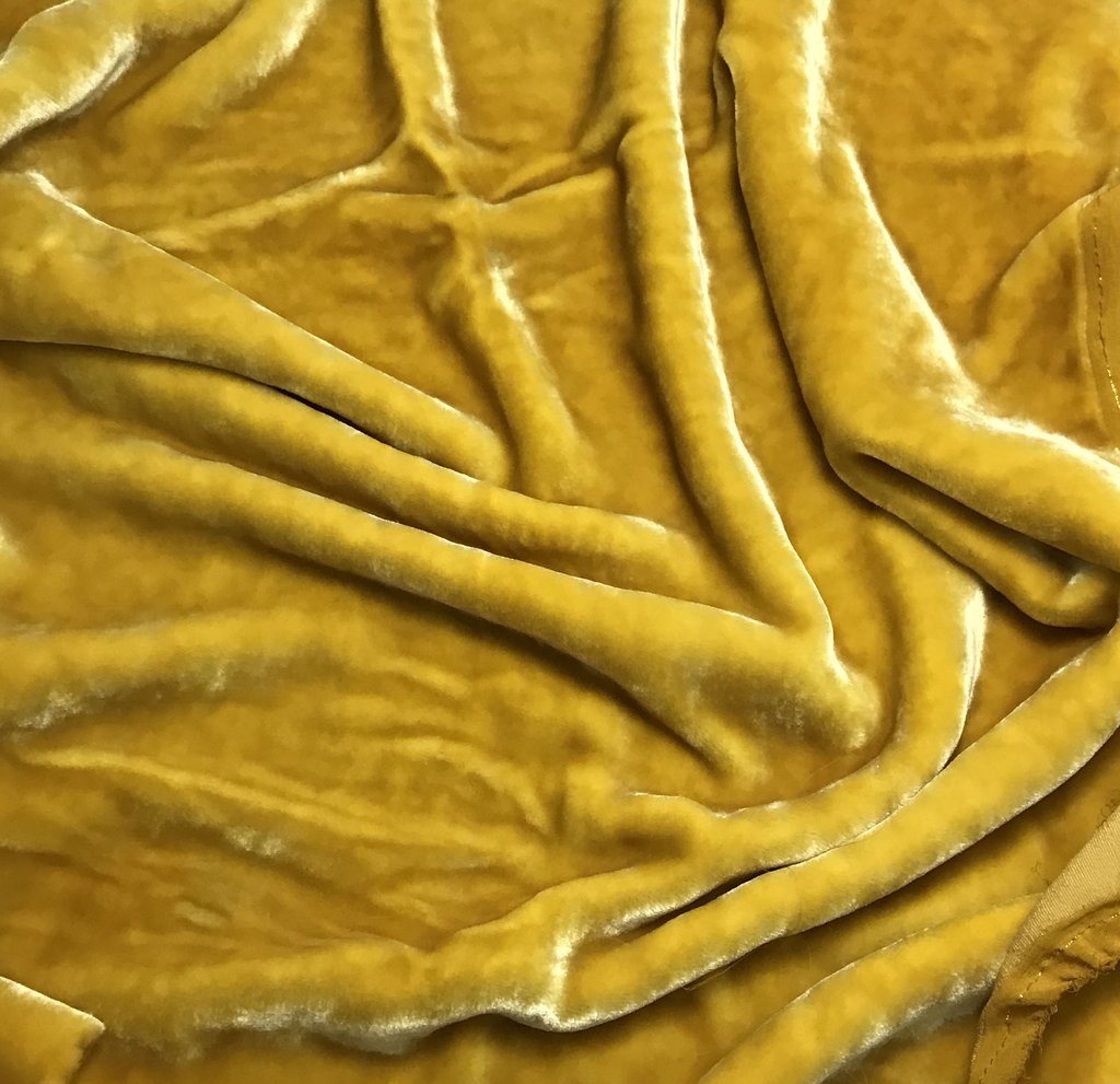 Honey Mustard - Hand Dyed Very Plush Silk Velvet