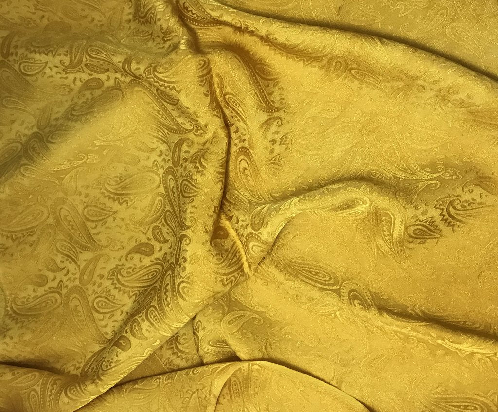 Honey Mustard Paisley - Hand Dyed Silk Jacquard