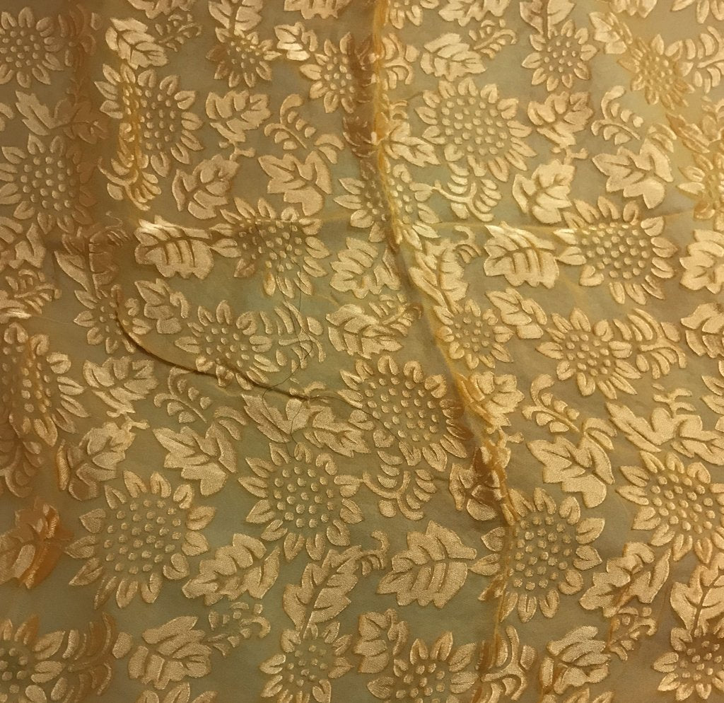 Honey Mustard Sunflowers Floral - Hand Dyed Burnout Devore Silk Satin