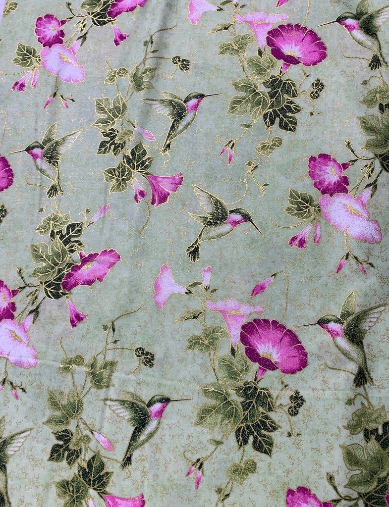 Hummingbird Glory Light Green - Shimmer Morning Glory - by Deborah Edwards for Northcott Cotton Fabric