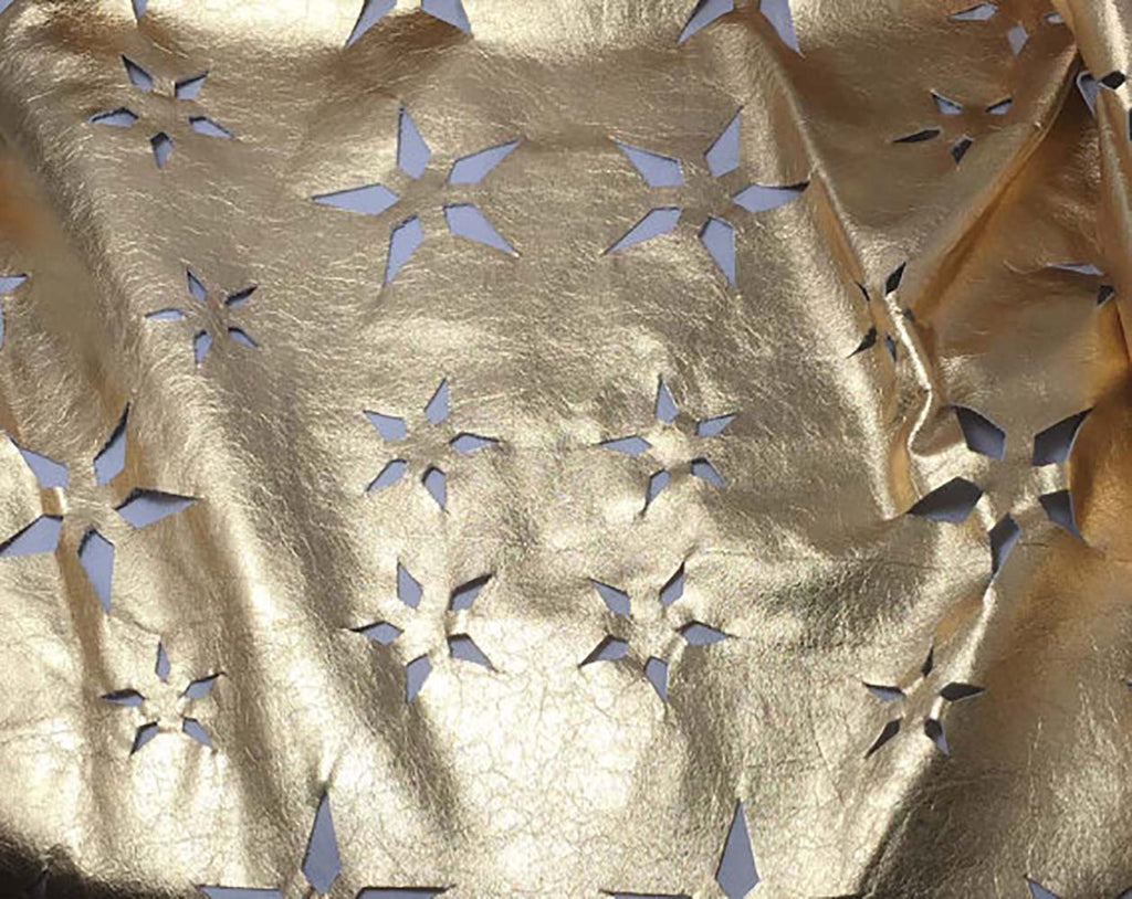 Metallic Gold Laser Cut Star Floral - Lambskin Leather