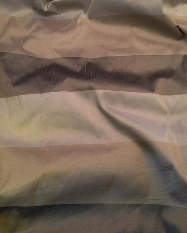Brown & Taupe Stripe - Silk Dupioni Fabric