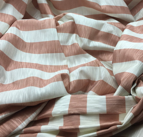 Peachy Tan/Off-white Vertical Stripe - Rayon/Polyester Faille Fabric