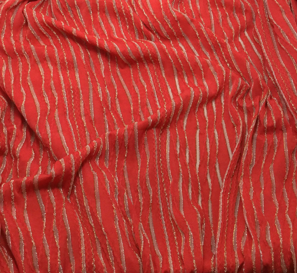 Bright Red & Gold Metallic Stripes - Poly/Lycra Knit Fabric