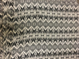 Black & White Aztec Chevron Stripe  - Crepe Fabric
