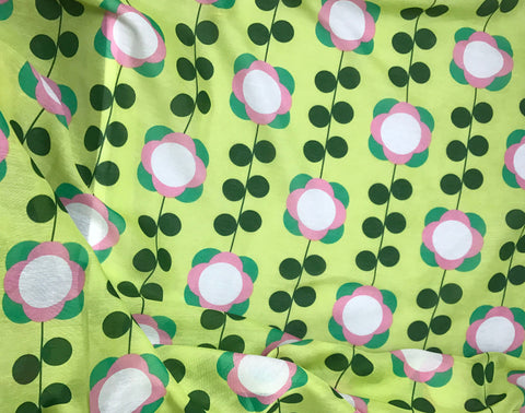 Lime Green & Pink Mod Floral - Cotton Voile