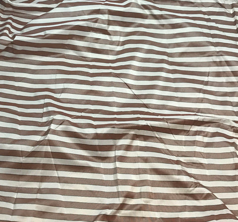Red Plum & White Stripes - Silk Taffeta