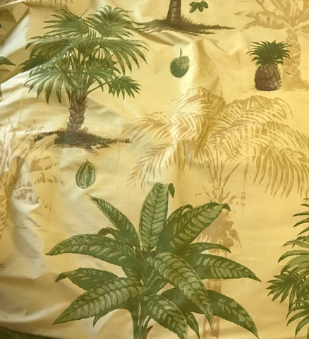 Printed Tropical Palm Trees on Gold - Silk Dupioni Fabric